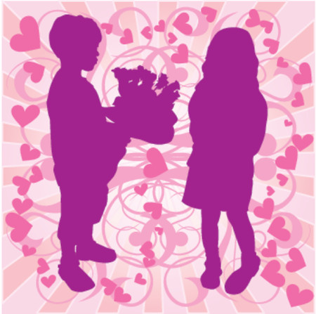 siloette: VECTOR silhouette boy & girl with flowers, love illustration Illustration