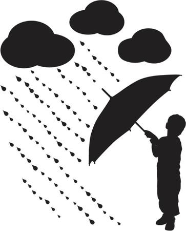 siloette: Silhouette child with umbrella, VECTOR illustration