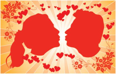 siloette: Silhouettes kissing men and women, VECTOR illustration Illustration