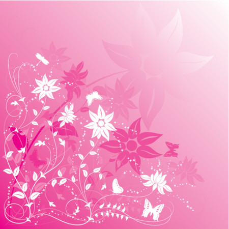 Background flower with butterfly, VECTOR illustration