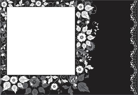 Framed background flower, elements for design, vector illustration