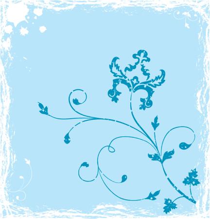 liane: Grunge background flower, elements for design, vector illustration
