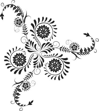 fancy border: Elemento de dise�o, en la esquina de flores, ilustraci�n vectorial