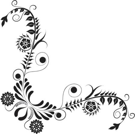 liane: Element for design, corner flower, vector illustration