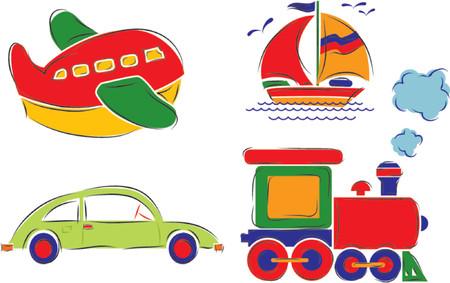 Ñhild has drawn car, plane, ship and train, vector illustration