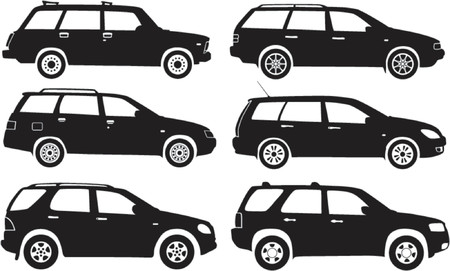 estate car: Silhouette cars, vector illustration