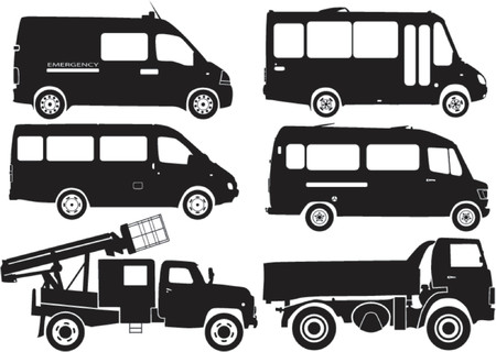 truck on highway: Silhouette coches, ilustraci�n vectorial