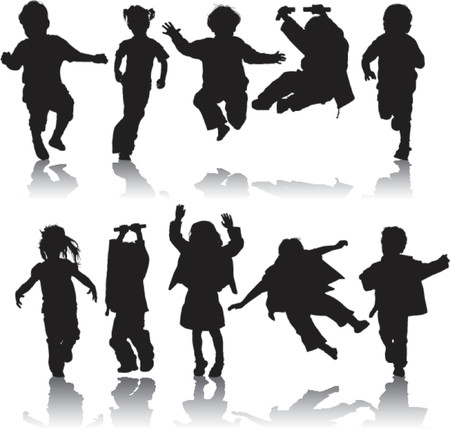 Vector silhouette girls and boys, illustration