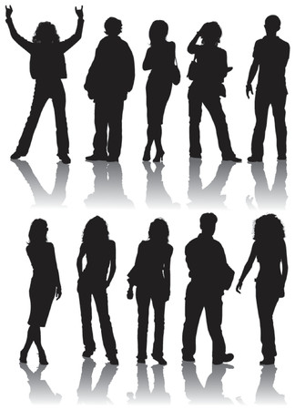 Vector silhouettes man and women, illustration Vector