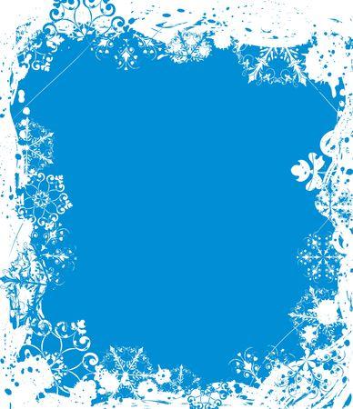 iceflower: Grunge cornice di neve, gli elementi per la progettazione, illustrazione