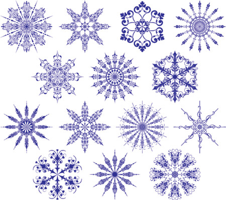 Collection of snowflakes, vector illustration. Some snowflakes consist of isolated object and may be rearranged.