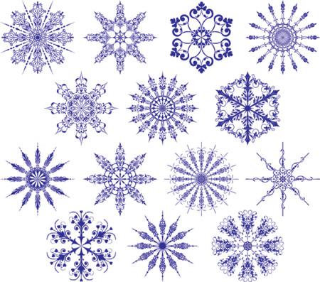 iceflower: Fiocchi di neve di raccolta, illustrazione vettoriale. Fiocchi di neve di alcuni isolati consistono in oggetto e possono essere rielaborati.  Vettoriali