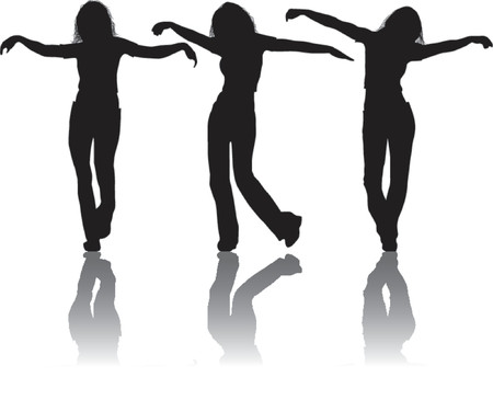 Vector silhouettes young girl, illustration Vector