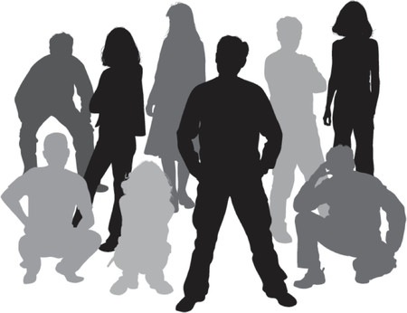happy teenagers: Vector silhouettes friends (man and women), illustration