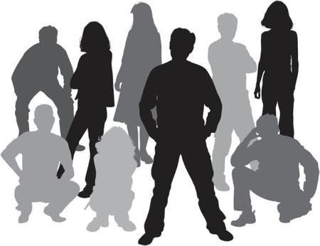 Vector siluetas amigos (hombre y mujer), la ilustraci�n  Foto de archivo - 537918