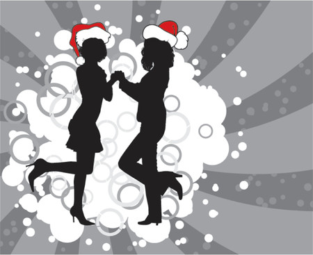 Christmas background with silhouettes, vector illustration Illustration