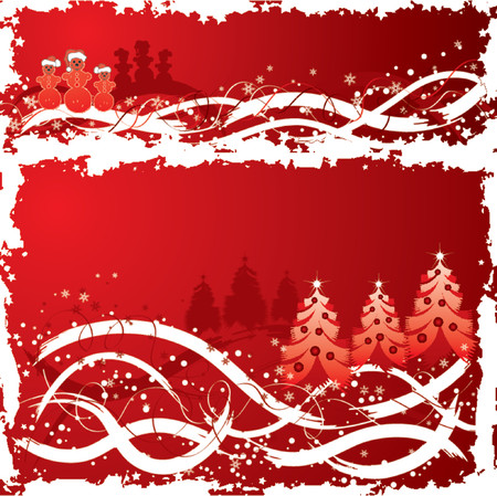 Christmas grunge background with snowman and christmas tree, vector illustration Stock Vector - 654469