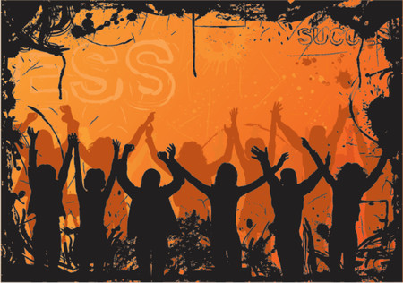 Grunge background with jumping silhouettes, vector illustration