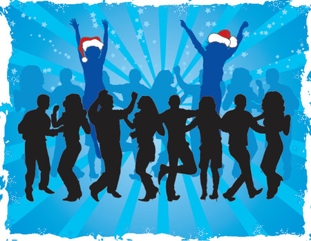winter dance: christmas, vector, silhouette, woman, girl, dance, card, greetings, abstract, art, artwork, background, celebrate, december, decor, design, holiday, illustration, invitation, snow, snowflake, wallpaper, winter, x-mas, xmas, men, action, clothes, group, gu