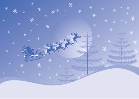 Christmas background with santa and deers, vector illustration Stock Vector - 654459