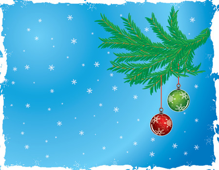 Grunge christmas background with baubles, vector illustration Stock Vector - 654397