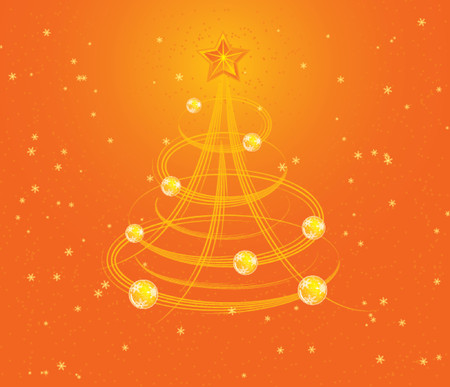 Christmas background with stylized tree and christmas baubles, vector illustration Stock Vector - 654398
