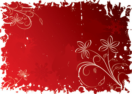 Christmas snowflake grunge background with flowers, vector illustration