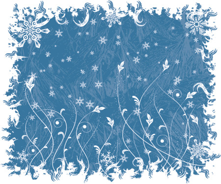 Christmas frosty background with snowflakes and flowers, vector illustration Stock Vector - 654402
