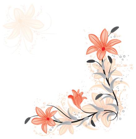 Floral element for design with lily, vector illustration Ilustração