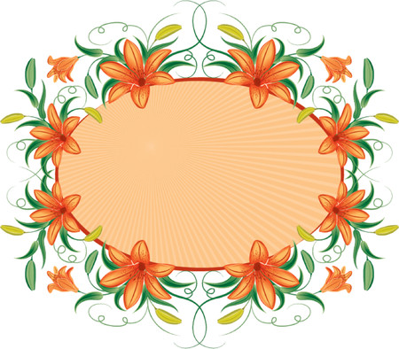 lily vector: Floral frame with lily, vector illustration Illustration