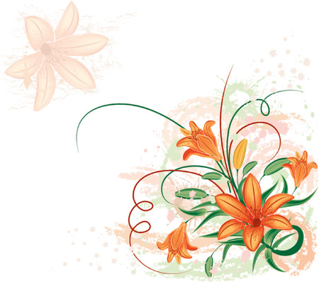 Grunge floral background with lilium, vector illustration Illustration