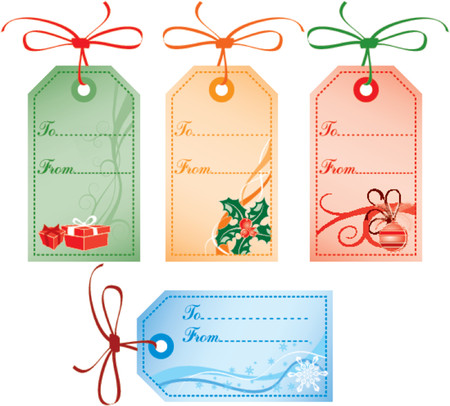 Collect Christmas Gift Tags - Gifts, Mistletoe, Snowflakes. Vector illustrations. Vector