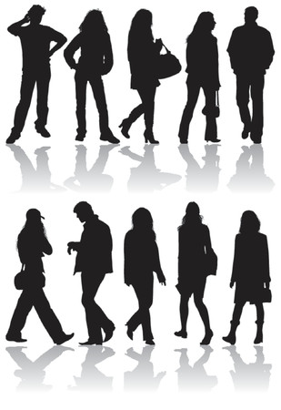 Vector silhouettes man and women, illustration Stock Vector - 654421