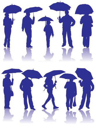 Vector sagome uomo, donna e bambino, con ombrellone, illustrazione
