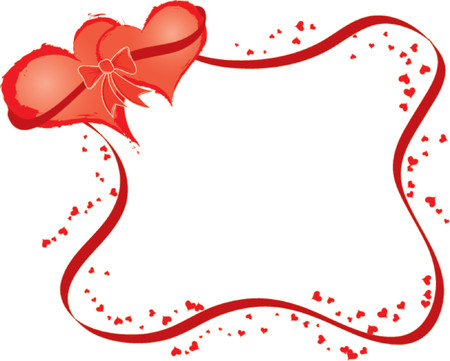 Valentines frame with two hearts, vector illustration Stock Vector - 654375