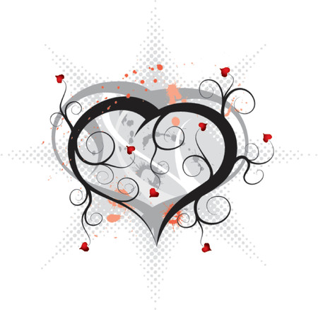 Abstract valentines ornament with hearts and blots, vector illustration Stock Vector - 654373