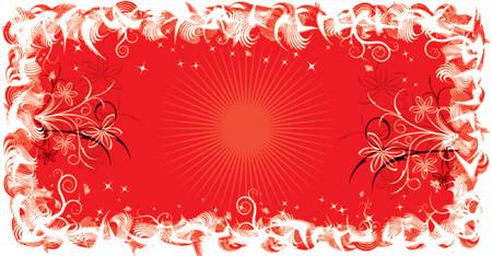liane: Grunge frame flower, elements for design, vector illustration