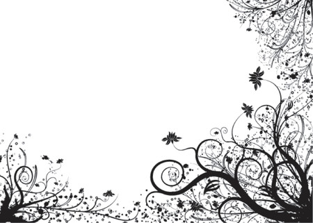 Floral element for design with blots, vector illustration