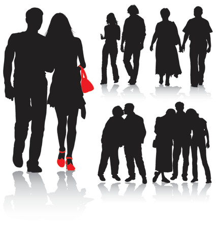 Vector silhouettes couples man and women, vector illustration Illustration