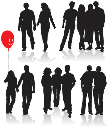Vector silhouettes friends (man and women), illustration Vector