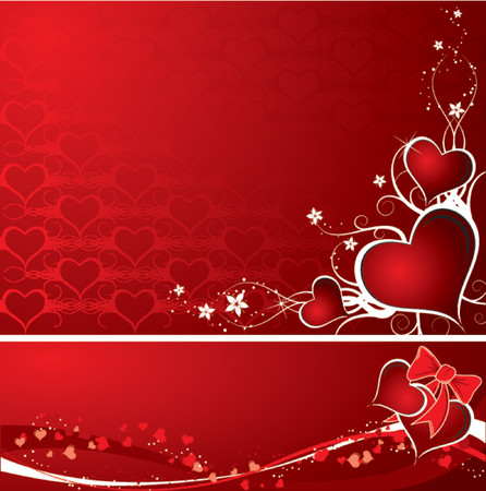Valentines abstract background set with hearts, vector illustration Illustration