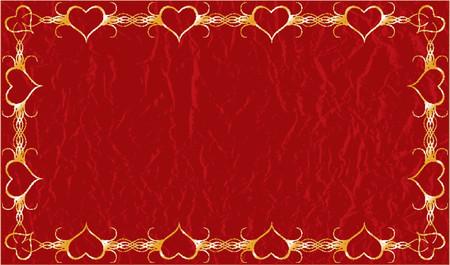 Grunge valentines framed gold background with hearts, vector illustration Vector