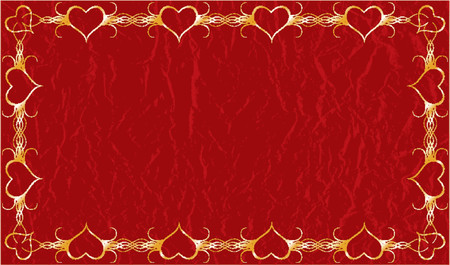 Grunge valentines framed gold background with hearts, vector illustration Vector