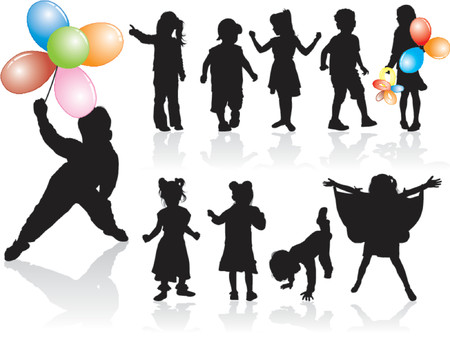 Vector silhouette girls and boys with balloon, illustration Vector