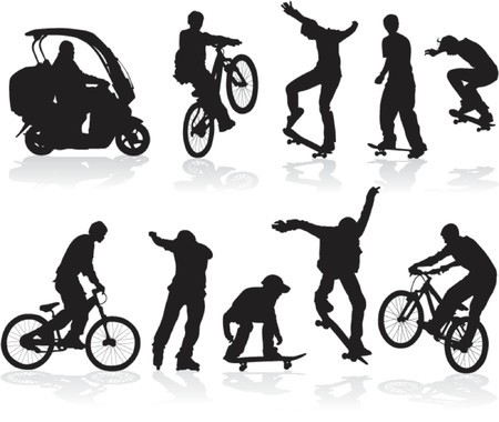 Vector silhouettes man on roller, bicycle, scooter, skateboard.