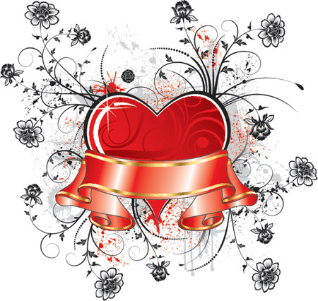 Valentine's abstract frame with ribbon and blots, elements for design, vector illustration Stock Vector - 734324