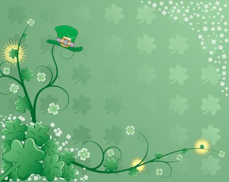four leafed clover: St Patrick  's con antecedentes de tr�bol, y el sombrero de flores