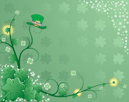 St. Patricks background with clover, hat and flower