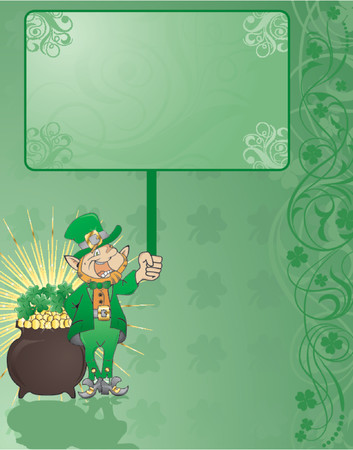 St. Patricks Day background with clover, hat and flower Vector