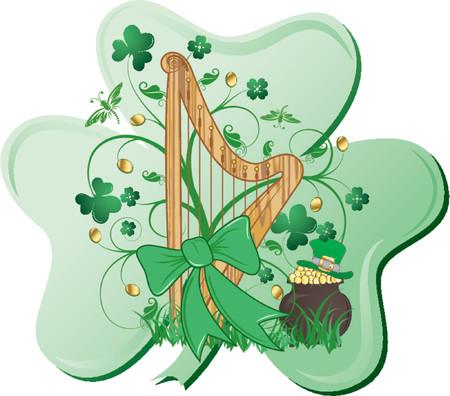 four leafed clover: St Patrick  's dise�o abstracto con arpa, el tr�bol, el gorro y el caldero  Vectores